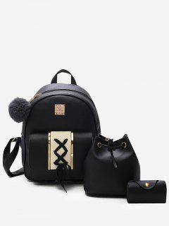 3Pcs Lace Up Design PU Leather Backpack - Black