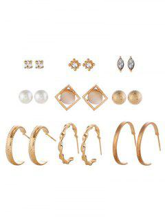 Rhinestone Geometric Design Alloy Earrings Set - Gold