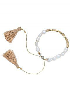 Faux Beads Adjustable Tassel Bracelet - Or