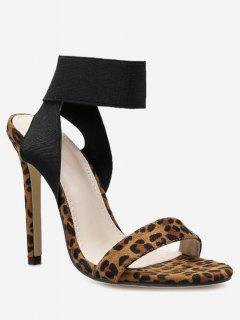 Ankle Strap Leopard Stiletto Heel Sandals - Black Eu 36