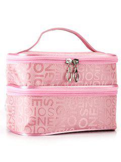 Letters Print Layered Makeup Bag - Pink