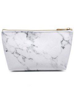 Marble Print Portable Makeup Bag - White