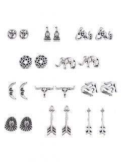 Animal Design Arrow Shape Earrings Set - Silver