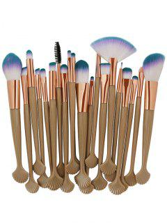 Shell Handle Beauty Tool Makeup Brushes Set - Camel Brown