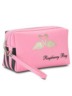 Flamingo Printed Striped Makeup Bag - Pink