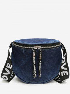 Letter Strap Denim Shoulder Bag - Navy Blue