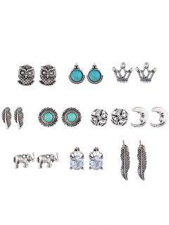 Bohemia Style Owl Elephant Leaf Stud Earrings Set - Silver