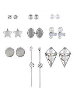 Rhinestone Geometric Shape Alloy Earrings Set - Silver