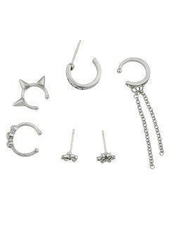 Rhinestone Chain Cartilage Hoop Earrings Set - Silver