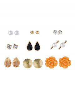 Rhinestone Floral Decoration Earrings Set - Gold