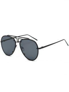 Unisex Light Metal Frame Pilot Sunglasses - Black