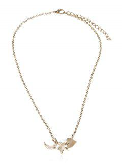 Star Heart Crescent Shape Necklace - Gold