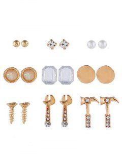 Screw Shape Faux Pearl Earrings Set - Gold
