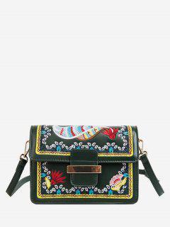 Ethnic Embroidery Buckle Shoulder Bag - Dark Forest Green