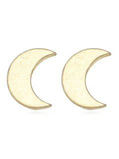 Metal Crescent Shape Stud Earrings - Gold