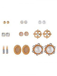 Faux Pearl Rhinestone Decoration Earrings Set - Gold
