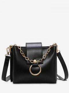 Studs Chain Metal Ring Shoulder Bag - Black