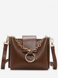 Studs Chain Metal Ring Shoulder Bag - Brown