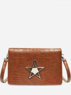 Star Patchwork Overlap Shoulder Bag - Brown