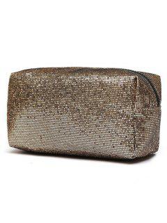 Travel Zipper Sequins Makeup Bag - Gold