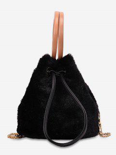 Hairy Drawstring Bucket Single Shoulder Bag - Black