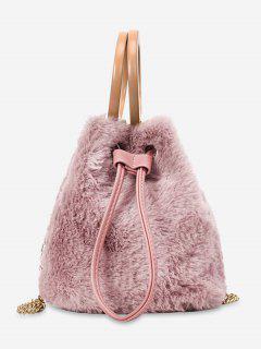 Hairy Drawstring Bucket Single Shoulder Bag - Pink