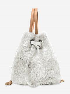 Hairy Drawstring Bucket Single Shoulder Bag - White
