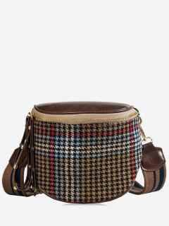 Houndstooth Wide Strap Shoulder Bag - Light Khaki