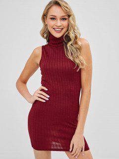 ZAFUL Turtleneck Bodycon Knit Short Dress - Red Wine S