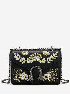 Embroidered U Shape Lock Mini Chain Shoulder Bag - Black