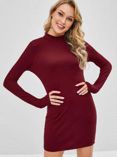 Knitted High Neck Fitted Dress - Red S