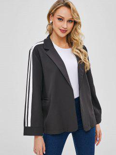 Striped Patched Semi Formal Lapel Blazer - Black L