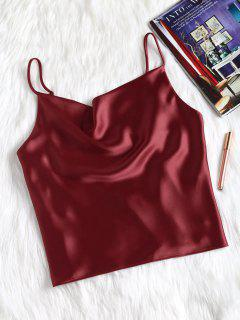 Satin Oversized Cami Tank Top - Red Wine L