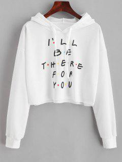 Colored Polka Dot Letter Cropped Hoodie - White 2xl