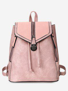 Solid Color PU Leather Drawstring Backpack - Pink