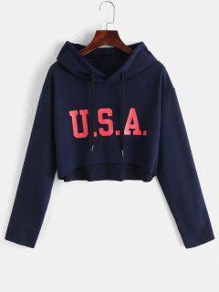 ZAFUL Crop Raw Hem High Low Hoodie - Midnight Blue S