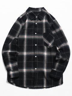 Camisa A Cuadros Con Bolsillo En El Pecho - Negro S