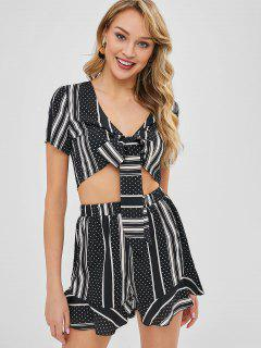 Polka Dot Striped Ruffles Two Piece Set - Black M