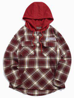 Top Button Plaid Pockets Hoodie - Red Xl