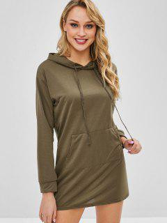 Kangaroo Pocket Plain Hoodie Dress - Khaki S
