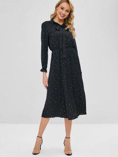 Polka Dot Pleated Tie Neck Dress - Black L