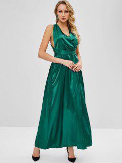 Satin Criss Cross Party Maxi Dress - Sea Turtle Green M