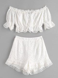 Off Shoulder Ruffles Eyelet Shorts Set - White L