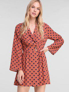 ZAFUL Polka Dot Long Sleeve Mini Dress - Rust M