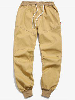 Solid Seam Detail Jogger Pants - Khaki S
