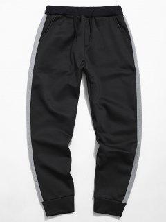 Pantalon En Polaire élastique à Rayures Sur Les Côtés - Noir S
