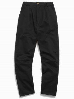 Zipper Fly Contrast Corduroy Patchwork Pants - Black M