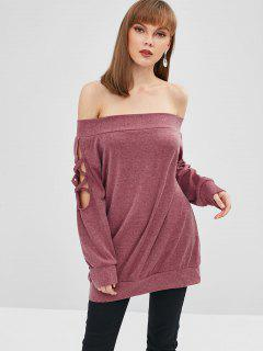 Tee-shirt Uni à épaules Dénudées - Rouge Violet Pâle  Xl