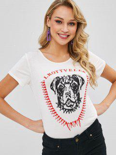 Cute Dog Graphic Tee - Warm White