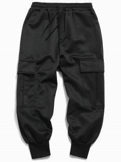 Solid Pockets Casual Harem Pants - Black 3xl
